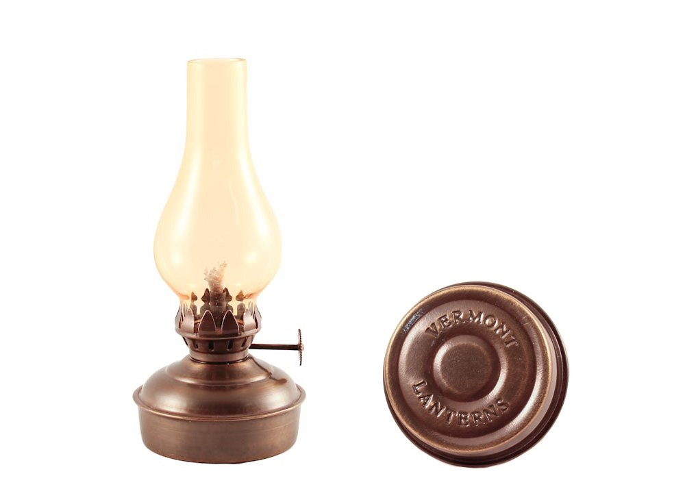 Vermont Lanterns Brass Mini Oil Lamp 6.5'' (Antique with Amber Glass)