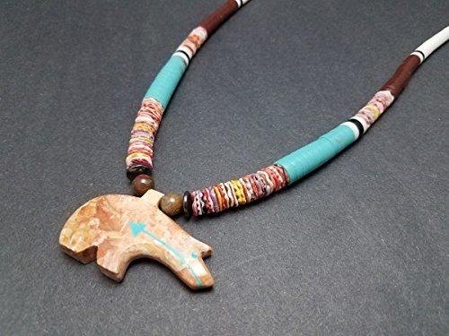- Hand Carved Pink Salmon Stone Zuni Bear Southwestern Fetish Necklace
