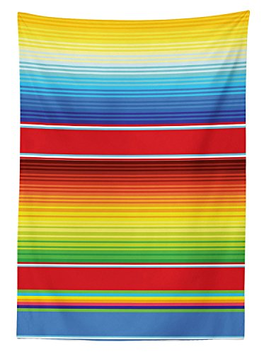 Mexican Decorations Tablecloth Horizontal Colored Ethnic Blanket Rug Lines Pattern Bright Decorative Design Dining Room Kitchen Rectangular Table Cover (Virginia Soccer Ball Rug)