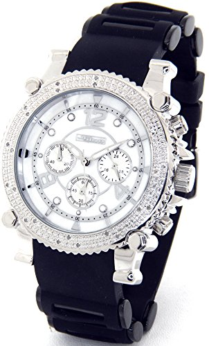 JOJINO Real Diamond Watch Chronograph Mens Silver Case Black Rubber Band J-1172A