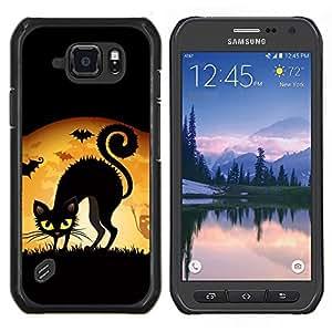 TECHCASE---Cubierta de la caja de protección para la piel dura ** Samsung Galaxy S6 Active G890A ** --Bruja Gato Negro Luna Llena