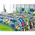 Sapphire Home Three 3 Piece Twin Size Cars Trucks Police Plane Theme Print Sheet Set With Fitted Flat And 1 Pillow Case Blue Green Gray Boys Kids Bedding Sheet Set