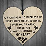 RED OCEAN Thank You From The Bottom Of My Heart Wooden Hanging Plaque Friendship Thank You