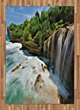 Nature Area Rug by Lunarable, Jogan Beach Waterfall View in Java Indonesia Tropical Seashore Scenery, Flat Woven Accent Rug for Living Room Bedroom Dining Room, 5.2 x 7.5 FT, Green White and Brown