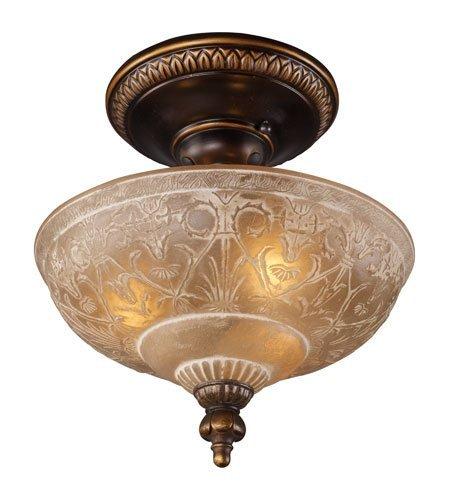 - Semi Flush 3 Light with Golden Bronze Finish Antique Amber Glass Medium Base 12 inch 225 Watts - World of Lamp