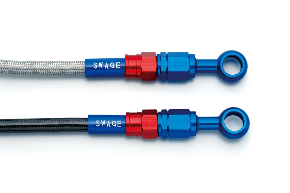 スウェッジライン フロントホースキット ブラックスモークコーティング アルミ レッド&ブルー SAFB0008   B074NVBDZC