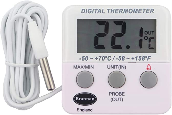 Term/ómetro digital para frigor/ífico y congelador /°C///°F con alerta de alta temperatura y funci/ón de alarma audible para congelador pantalla LCD refrigerador para el hogar y la cocina