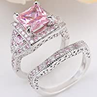 LALISA 2Pcs Fashion Silver Plated Pink Sapphire Princess Cut Ring Set Wedding Jewelry (10)