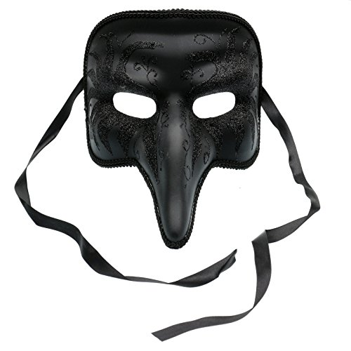 ILOVEMASKS Long Nose Swan Venetian Masquerade Mask - Black -