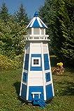Deko-Shop-Hannusch Wunderschöner großer Leuchtturm aus Holz mit SOLAR Beleuchtung, LED, 1,10m blau/weiß