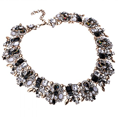 Jerollin Crystal Statement Necklace (Earrings Set), Vintage Chunky Chain Choker Bib Statement Necklace Fashion Costume Jewelry Necklaces (Set) for ()