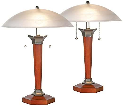 Walnut And Nickel Deco Dome Table Lamps   Set Of 2