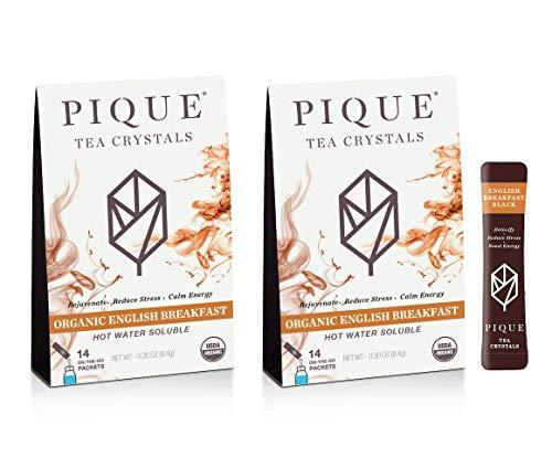 Pique Organic English Breakfast Black Tea Crystals, Antioxidants, Energy, Gut Health, 28 Single Serve Sticks (Pack of 2)