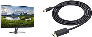 Dell 27 LED Backlit LCD Monitor SE2719H IPS Full HD 1080p 1920 x 1080 at 60 Hz HDMI VGA & AmazonBasics Mini DisplayPort to HDMI Display Adapter Cable - 6 Feet
