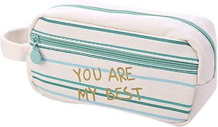 Fossrn Estuches Escolares 2 Cremalleras Niñas lona Estuche de Lápices Grandes Bolsa de cosméticos (C): Amazon.es: Oficina y papelería