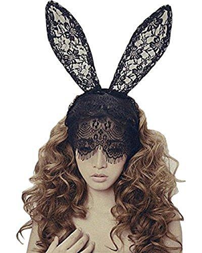 Ears Bunny Regular (Bunny Rabbit Ears Headband Venetian Filigree Lace Veil Masquerade Mask Hairband for Hallowmas Cosplay Party)