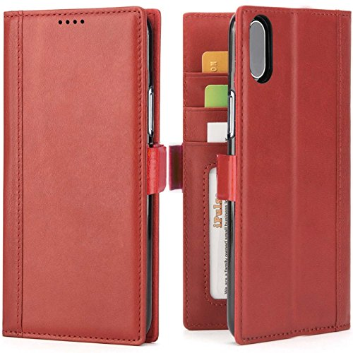 Price comparison product image iPhone X Wallet Case Leather For Women -- iPulse Journal Series Italian Full Grain Leather Handmade Flip Case For iPhone X with Magnetic Closure - Wine Red
