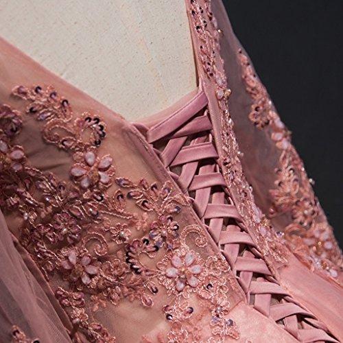 Perles Manches Longues Femmes Dentelle Robe De Bal Robe De Mariée De Gris Robe De Soirée