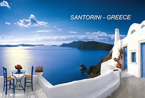 Greece Greek Fridge Refrigerator Magnets (City: Santorini-A4) (Greek Flag Magnet)