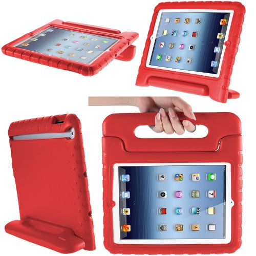 iPad Mini 3 Case, i-Blason Apple iPad Mini / iPad Mini with Retina Display (2nd Generation) ArmorBox Kido Series Light Weight Super Protection Convertible Stand Cover Case for Kids Friendly (Red)