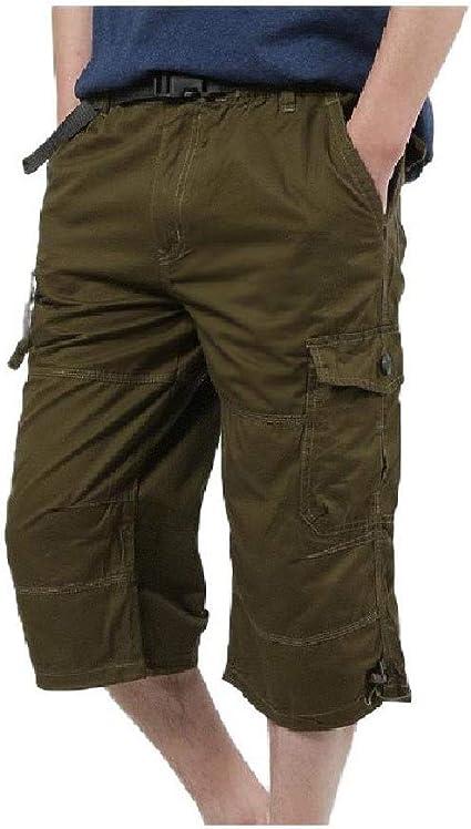Kankanluck Men Relaxed Loose 3/4 Pants Summer Pocket Rugged Wear Short Pants