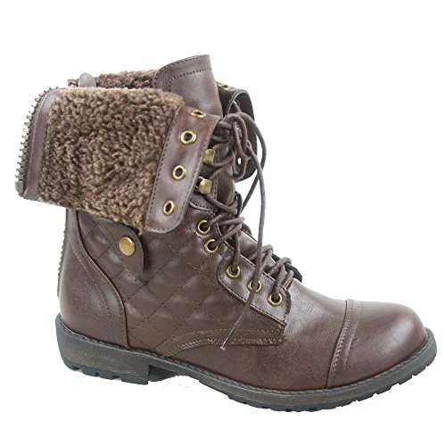 Nature Foldable 02 Galaxy Calf Boots Zipper Mid Fashion Women's Combat Shoes Breeze Brown xHOFRx