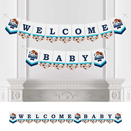 (Big Dot of Happiness Go, Fight, Win - Sports - Baby Shower Bunting Banner - Party Decorations - Welcome)