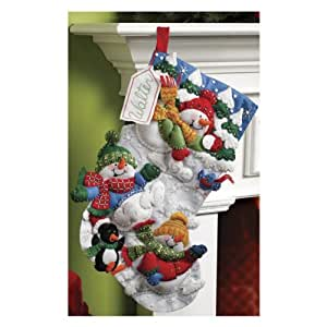 Bucilla Snow Fun Christmas Stocking Felt Applique Kit, 86108 18-Inch
