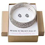 Mother of the Bride Gift Crystal Bracelet and Earring set, Wedding Jewelry set