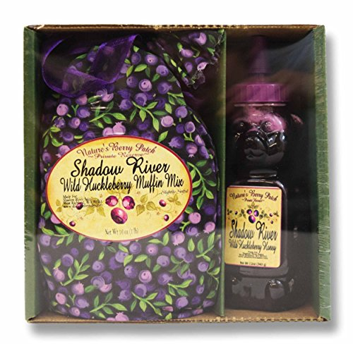 Shadow River Wild Huckleberry Gourmet Boxed Gift Set Muffin Mix & 12 oz Honey by Shadow River