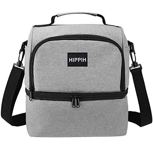 Waterproof & Leakproof Insulated Lunch Box, HIPPIH Bento Lunch Bag, Cooler Bag with 2 Compartments & Dual Carry Ways for Office/Picnic/Hiking/Party