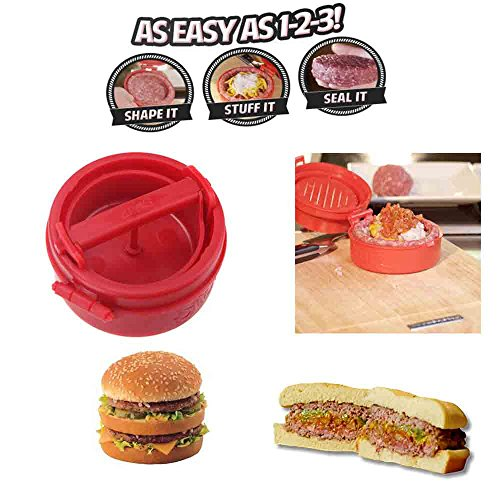 Stuffed Hamburger Burger Press Mould Plastic Novelty Compact Kitchen Tool Red - 4