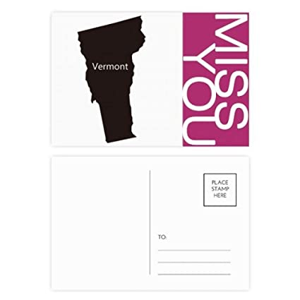 Map Of America Vermont.Amazon Com Vermont America Usa Map Silhouette Miss Postcard Set