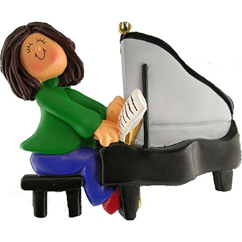 Personalized Musician Girl Playing Piano Christmas Tree Ornament 2019 - Brunette Woman Pianist Performs Recital Orchestra Hobby Profession Teacher - Free Customization (Brown Hair Female)