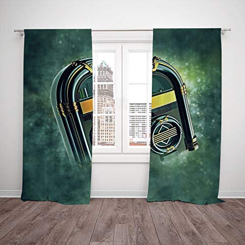 Thermal Insulated Blackout Window Curtain,Jukebox,Abstract Grunge Antique Radio Music Box on Blurry Backdrop Print,Forest Green Yellow and White,Living Room Bedroom Kitchen Cafe Window Drapes 2 Panel