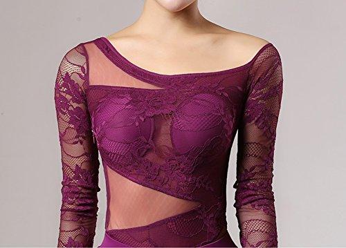 Naturale Wqwlf Top Da Posizioni Di Purple 4 Ballo M Pizzo Latino Costume 3 Delle A Body Manicotto Abbigliamento Donne Prestazione Splicing l UrqzwU