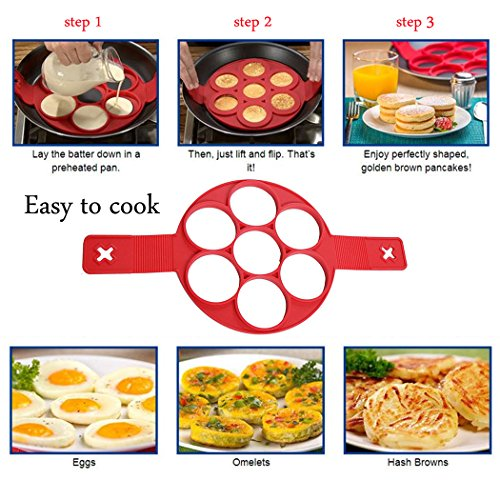 Tenal Fast Fried Flipping Nonstick Perfect Pancake Maker Egg Ring Kitchen Helper Tool