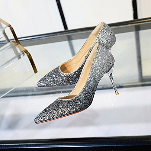 Temperament Heeled Wedding Stiletto Women's Shoes Pink Heeled Princess Party Gold Shoes Wedding GAOLIXIA High Shoes PU High Sequin Silver Silver Shoes wzSAYE