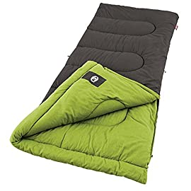 Coleman Duck Harbor Cool Weather Adult Sleeping Bag 1 Adult sleeping bag for camping in mild temperatures down to 40 degrees F Can accommodate most people up to 5 feet 11 inches tall Cotton cover, soft cotton flannel liner, and Thermolock draft tube for warmth and heat retention