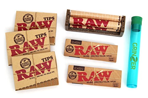 RAW KIT 2 Packs Rolling Paper 4 Packs Pre rolled Tips 1 Hemp Cigarette Rolling Machine and 1 Tube by grinzer