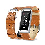 Jennyfly Fitness Watch, Color Screen IP67 Waterproof Bluetooth GPS Smart Watch with Heart Rate/Sleep Monitoring Anti-Lost Fitness Tracker Remoe Camera Sport Smart Wrist for Women Men - Brown