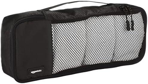 Amazon Basics 4 Piece Packing Travel Organizer Cubes Set - Slim, Black