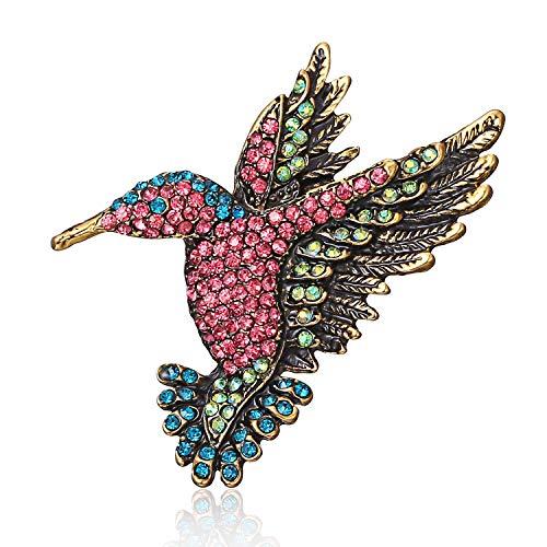 (AILUOR Antique Gold Tone Bird Hummingbird Multi Color Austrian Crystal Pin Brooch Jewelry for Women)