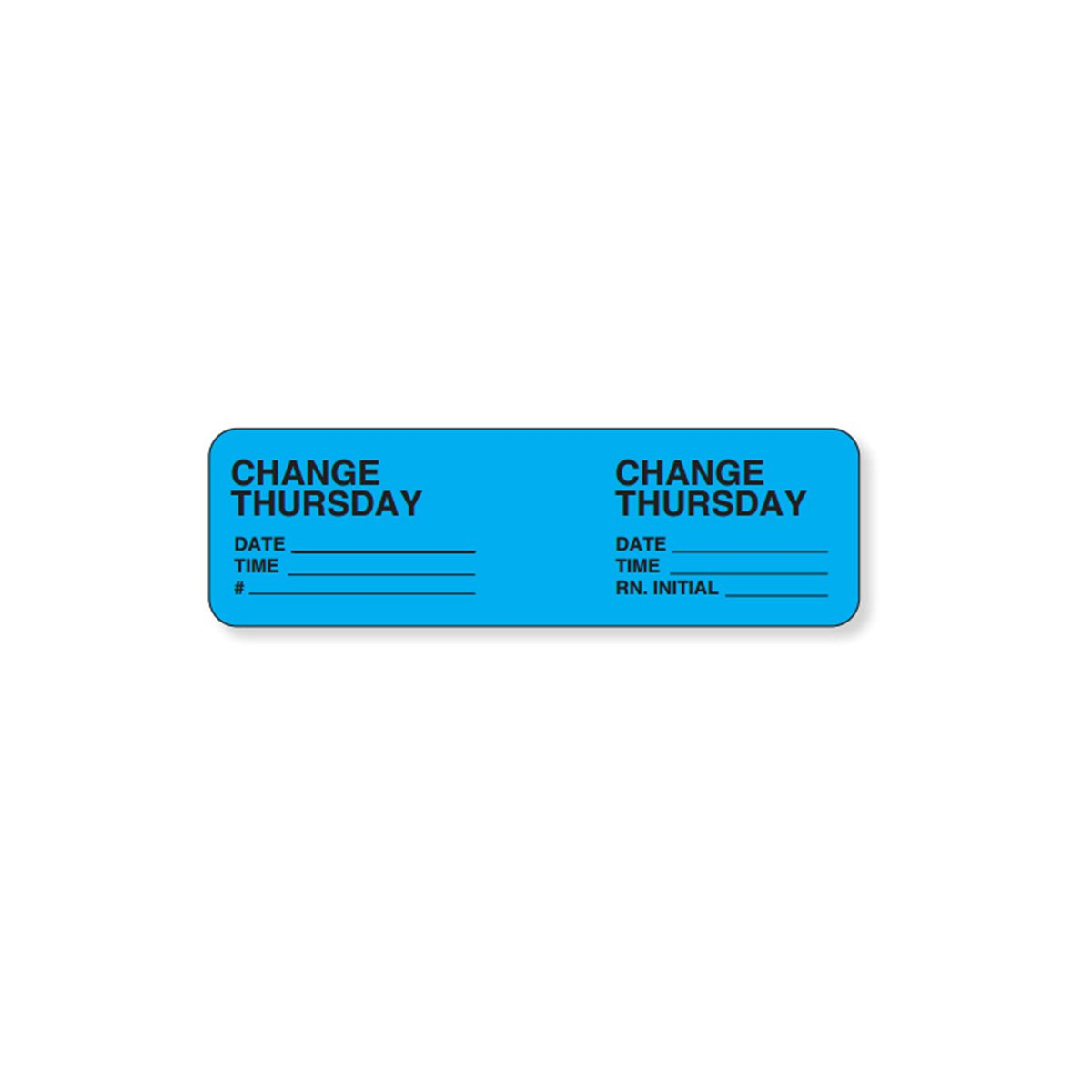 PDC Healthcare 59704491 IV Label Wraparound Paper, Permanent, Change Thursday, 2 7/8 x 7/8, Blue (Pack of 1000)