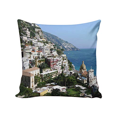 Positano Throw Pillow Cushion Cover,Square 26 x 26inch Satin Fabric Two Sides, Beautiful Bay and Famous Resort of Amalfi,Campania Region,Italy, Pillow Sham Cases for Couch Sofa Chair ()