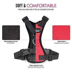 Pawaboo Dog Safety Vest Harness, Pet Dog Adjustable Car Safety Mesh Harness Travel Strap Vest with Car Seat Belt Lead Clip, Large Size, RED