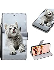 Cestor Wallet Strap Case for Samsung Galaxy S21 FE 5G,Colorful Pattern Stand PU Leather Full Body TPU Bumper Shockproof Case with Credit Card Holders,Cute Cat