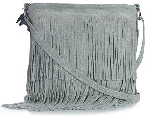 Bolso Big Handbag Shop para mujer, pequeño, de ante, con flecos Gris Claro