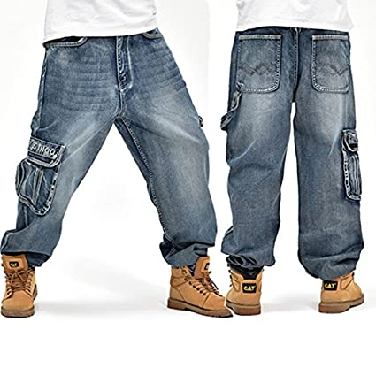 Alamor Loose Plus Tamaño 30-46 Hip-Hop Hombres Moda Jeans De Gran Tamaño b65c20b63d9
