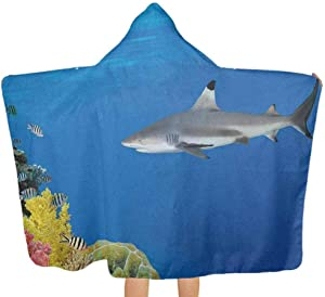 """shirlyhome Hooded Poncho Shark Wrinkle-Free Quick-Drying Tropical Underwater World with Fishes Swimming and Coral Reef Serene Wildlife Picture Multicolor Size 30""""x50"""""""